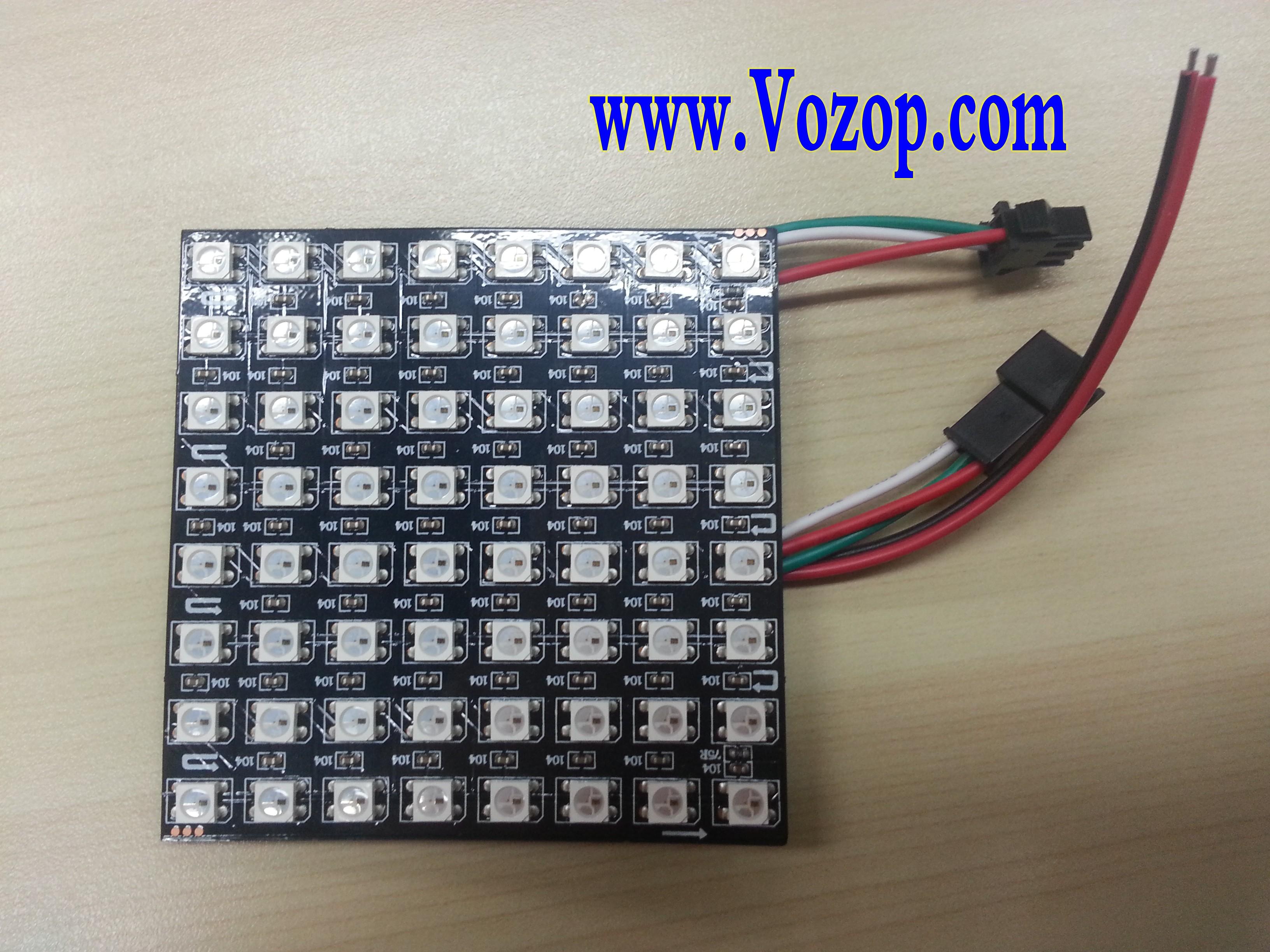 8cm_64_LEDs_WS2812B_RGB_LED_Matrix_Panel_Light_5V_pixel_lighting