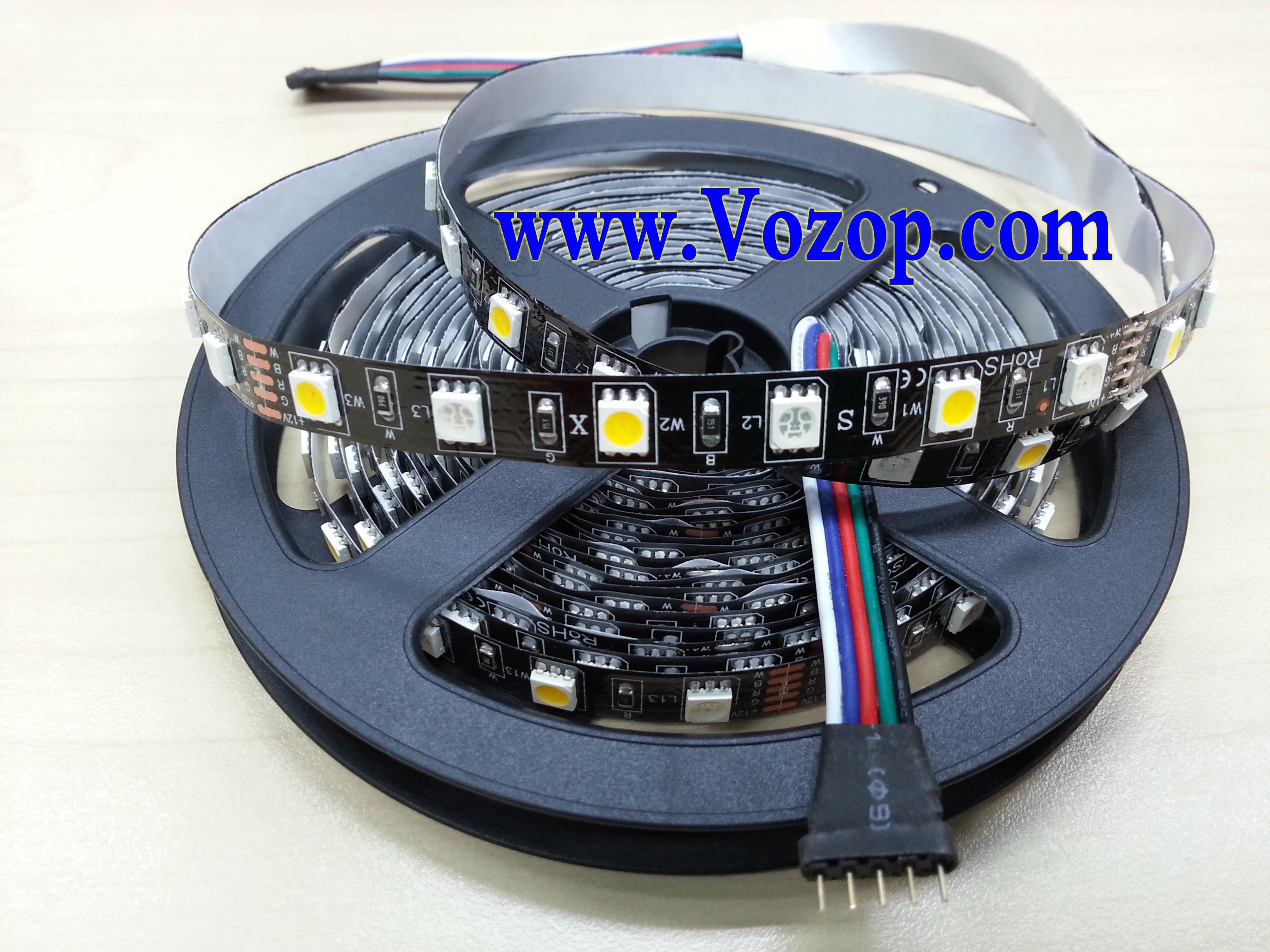 Black_PCB_RGBW_LED_Strip_Light_RGB_Warm_Pure_White_12V_5M_300LEDs_ribbon