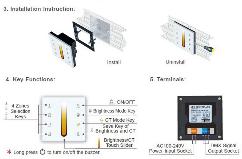 DX6_RF_Color_Temp_LED_Controller_Touch_Panel_Multi_Zone_Dimmer_user_manual