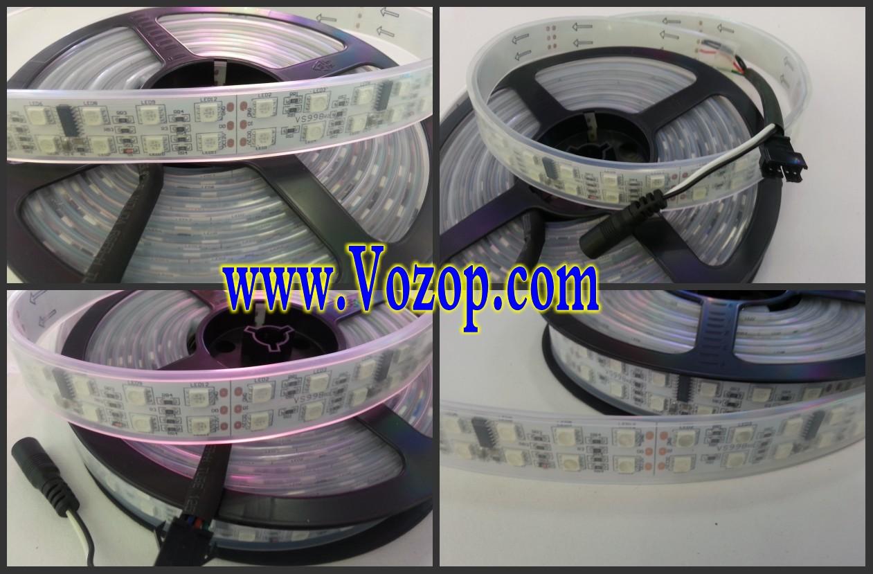 Double_Row_TM1812_Addressable_5050_RGB_LED_Strip_5M_600LED_Lights