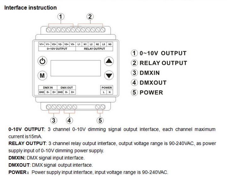 AC90-240V High Voltage DMX Dimmer 3 Channels Output 0-10V