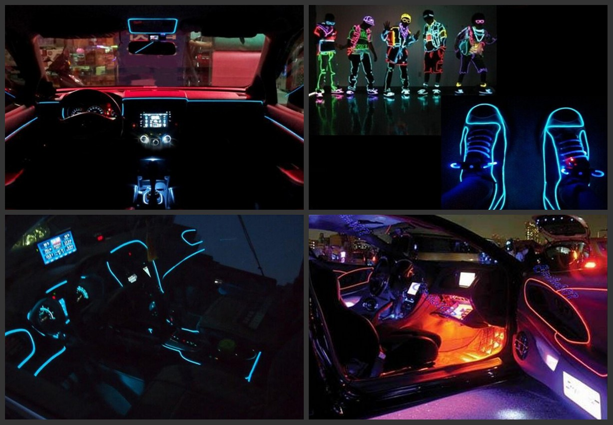 LED Neon Sign Flexible Light Glow EL Wire Car Party Costume ...