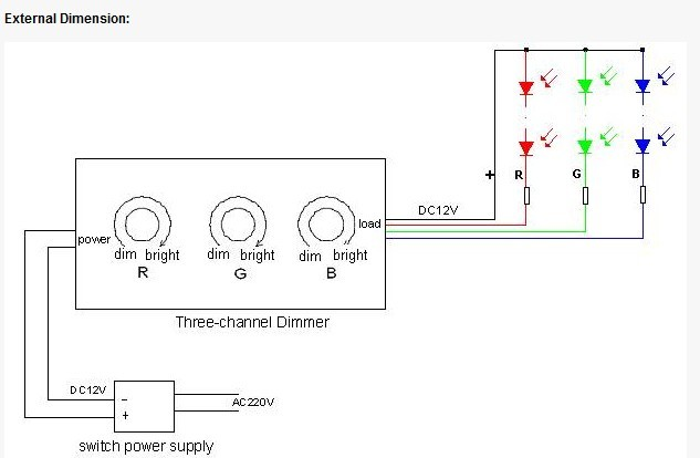 rgb led dimmer adjustable bright controller dc 12v 24v