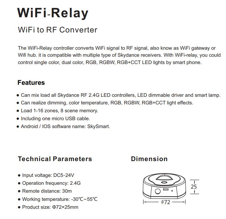Skydance WiFi-Relay LED Controller 5-24V WiFi to 2 4G RF