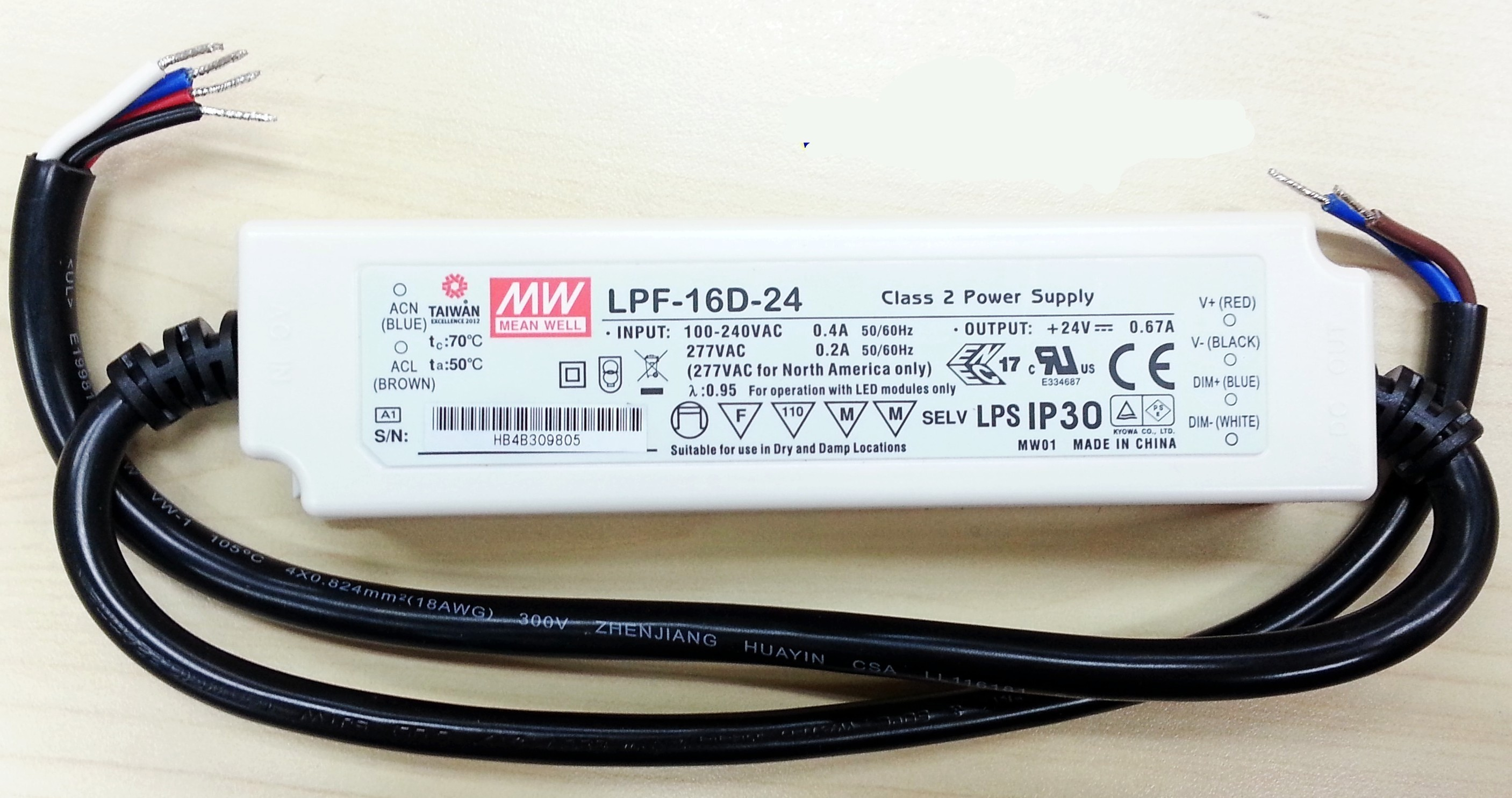 Mean Well 16W LED Switching Power Supply LPF-16D Series Driver