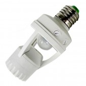 E27 White Screw Light Bulb Holder PIR Motion Sensor With Switch Socket