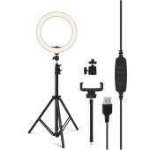 LED Selfie Ring Fill Light Dimmable Photo Makeup Video Camera Lamp with Phone Holder