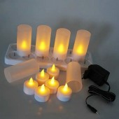 Rechargeable Waxless Flickering Flameless TeaLight LED Candle Lamp Electric Deco-Amber