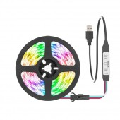 USB Mini Addressable LED Strip Cable Control Flexible Light WS2812B Desk Screen TV Background 5V